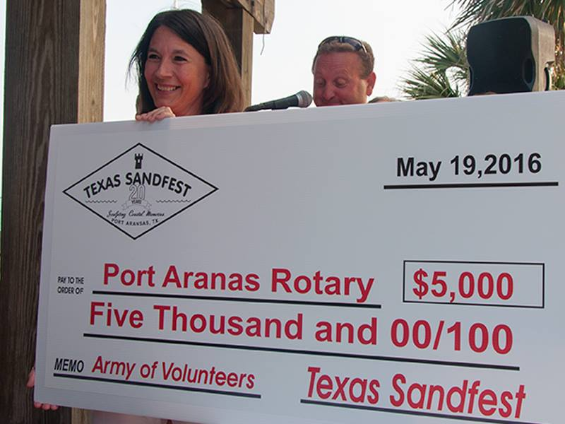 $5,000 check to Rotary